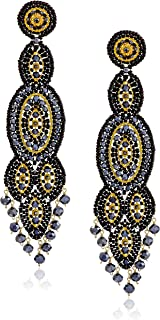 product image for Miguel Ases Black Quartz Slender Oval Drop Earrings