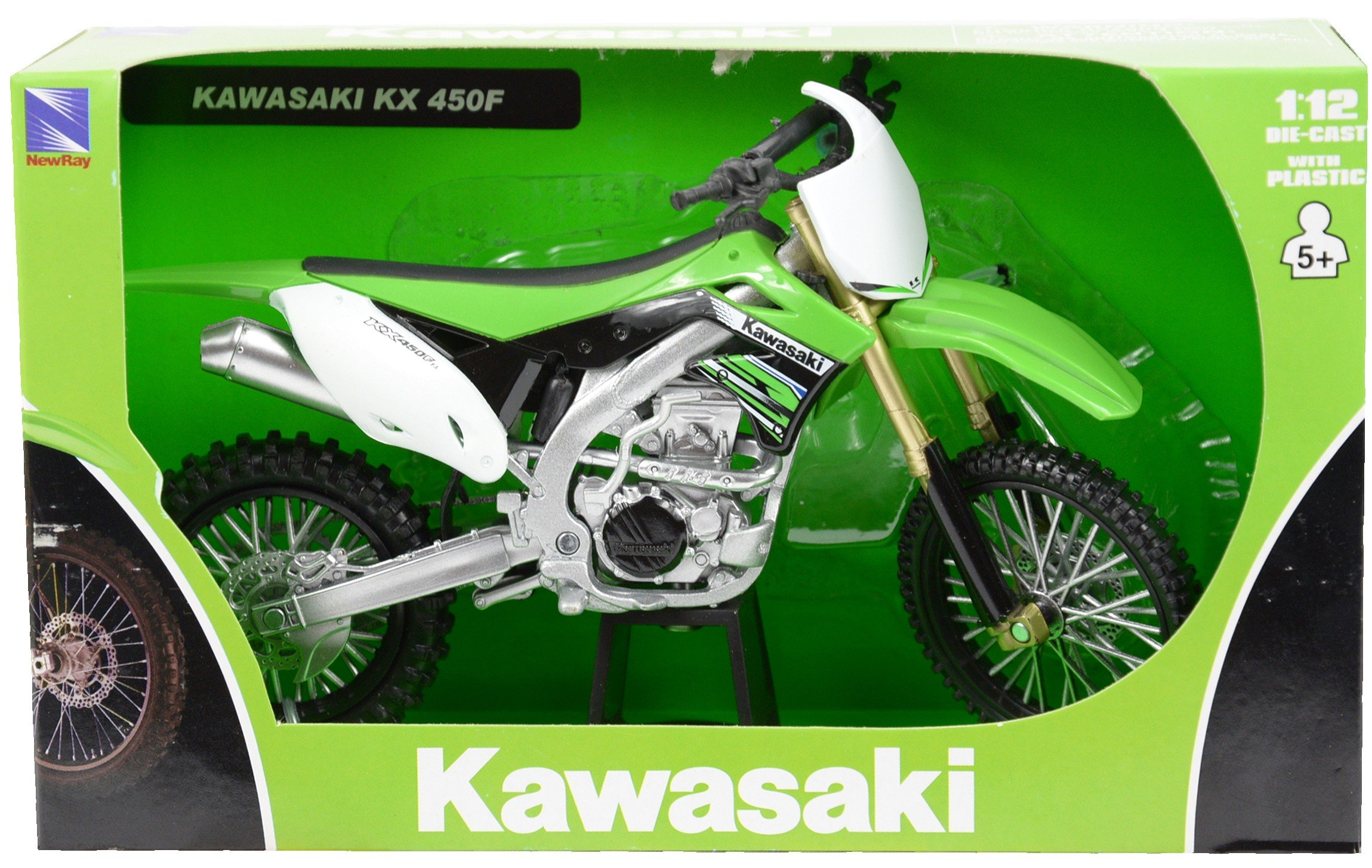 NewRay 1:12 2012 Kawasaki Kf450F Dirty Bike Diecast Vehicle