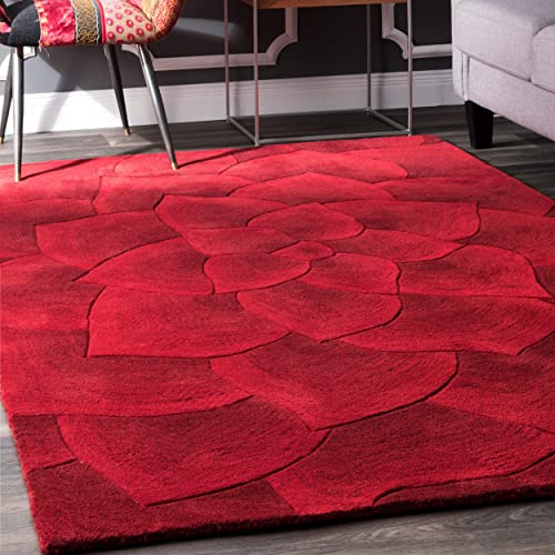 nuLOOM Gol Hand Tufted Wool Rug, 9 x 12 , Red