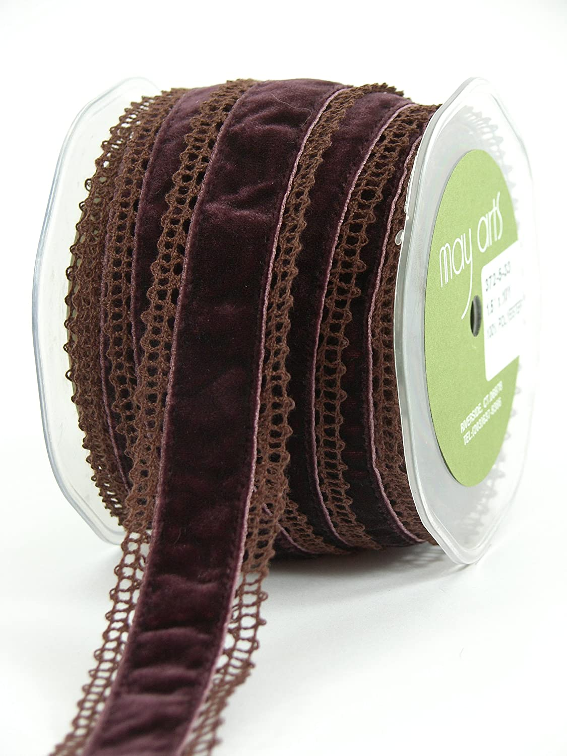 May Arts 1-1/2-Inch Wide Ribbon, Ivory Crochet with Pink Velvet