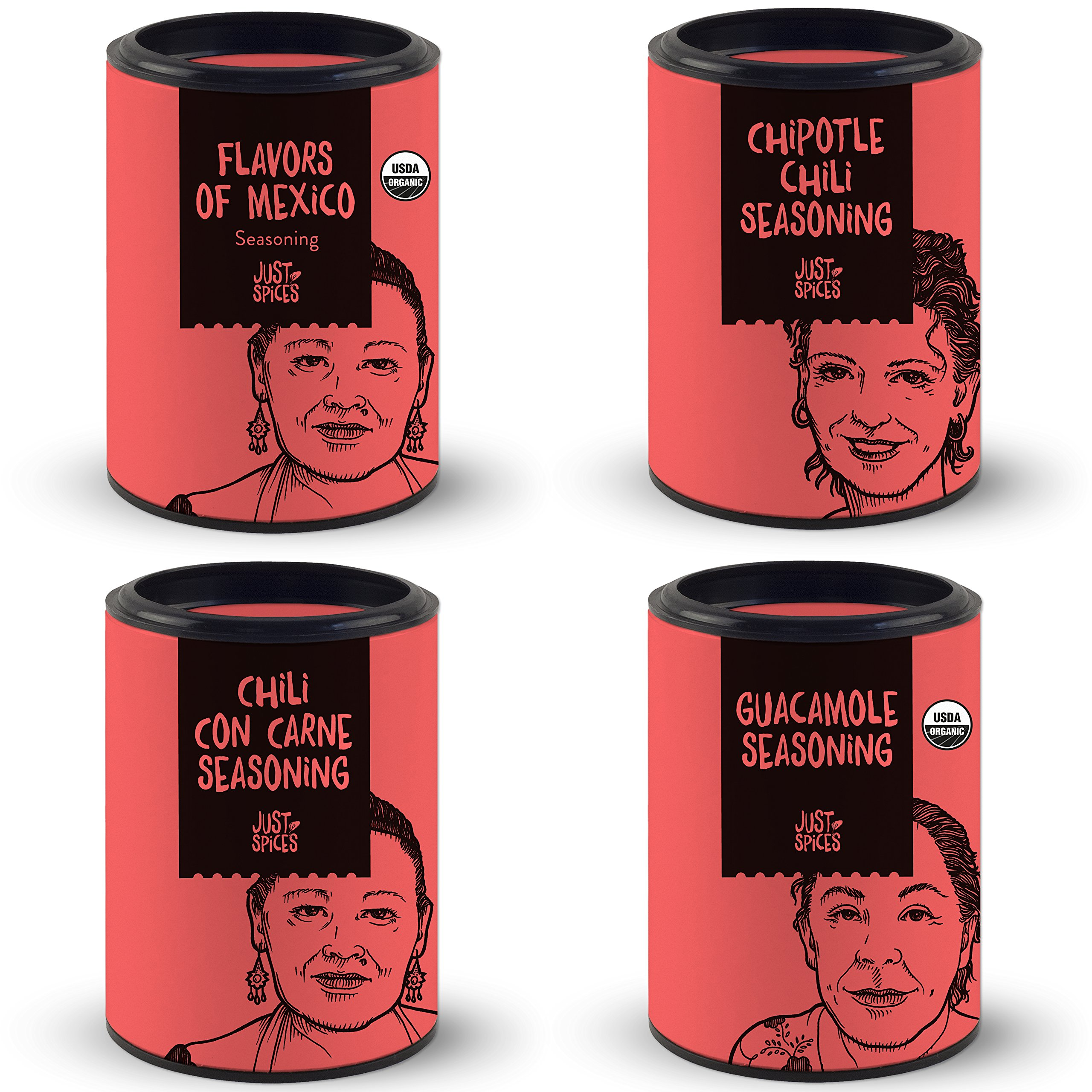 Mexican Spices Gift Set | Variety Box of 4 Essential Seasoning Blends for Cooking Mexican Food | Including Guacamole Seasoning - Chili con Carne - Chipotle - Flavors of Mexico