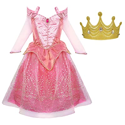 Little Pretends Princess Sleeping Beauty Dress-up Costume Set with Soft Gold Crown: Clothing