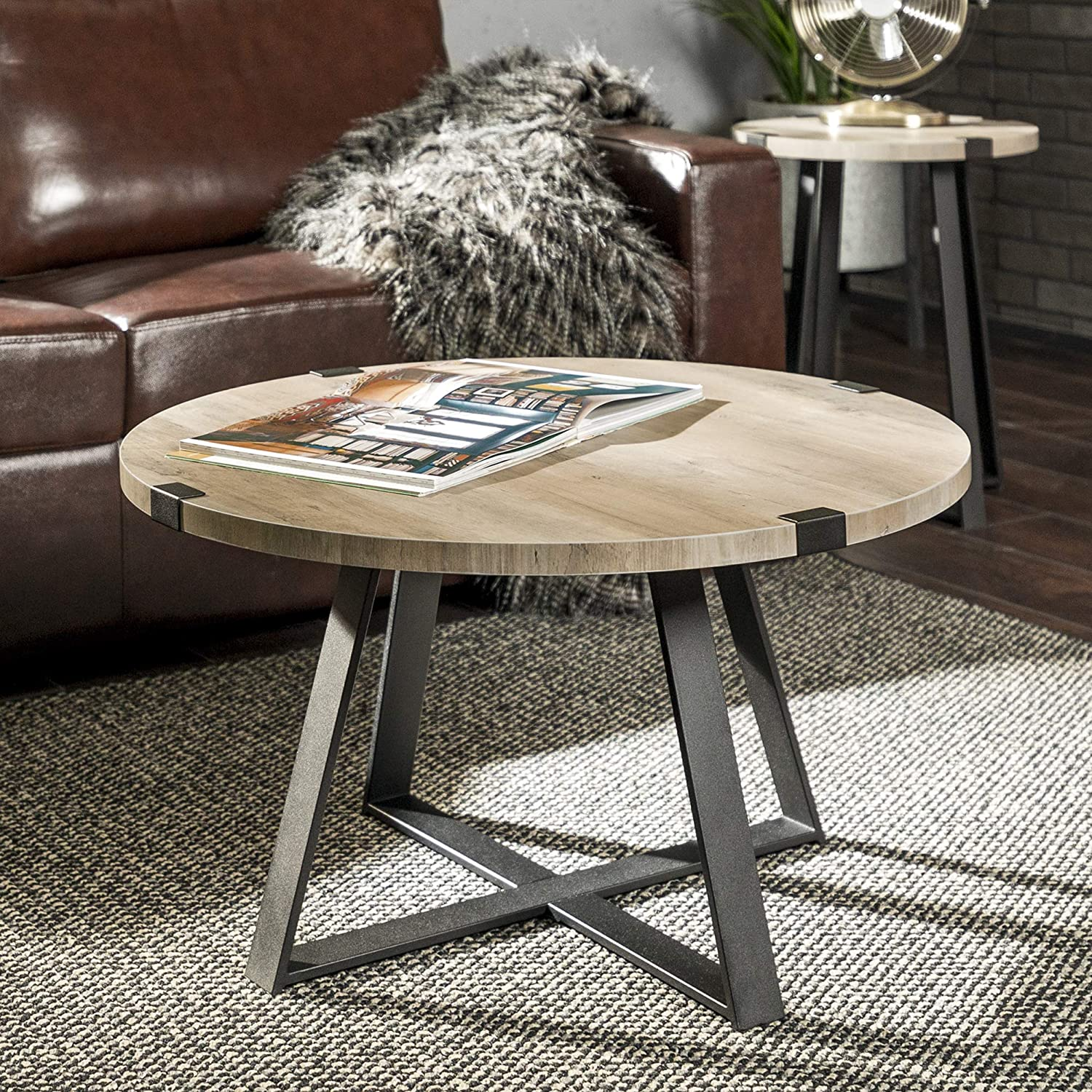 Rustic Farmhouse Round Metal Coffee Accent Table