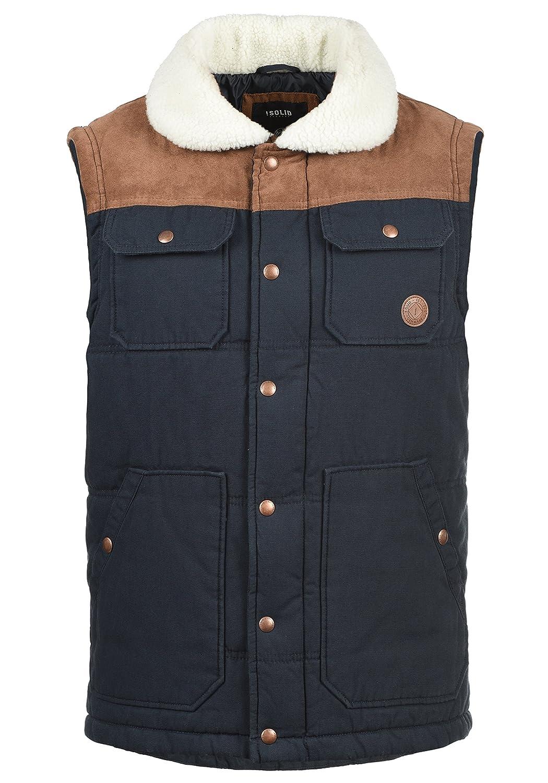 Solid Ferdi Men's Quilted Gilet Vest Body Warmer with Teddy Fur Collar