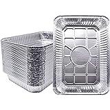 """Fig & Leaf (30 Pack) Aluminum Foil Drip Pans - Compatible with Weber Grills 6416 Pans - 13"""" x 9"""" x 2"""" l Heavy-Duty l…"""