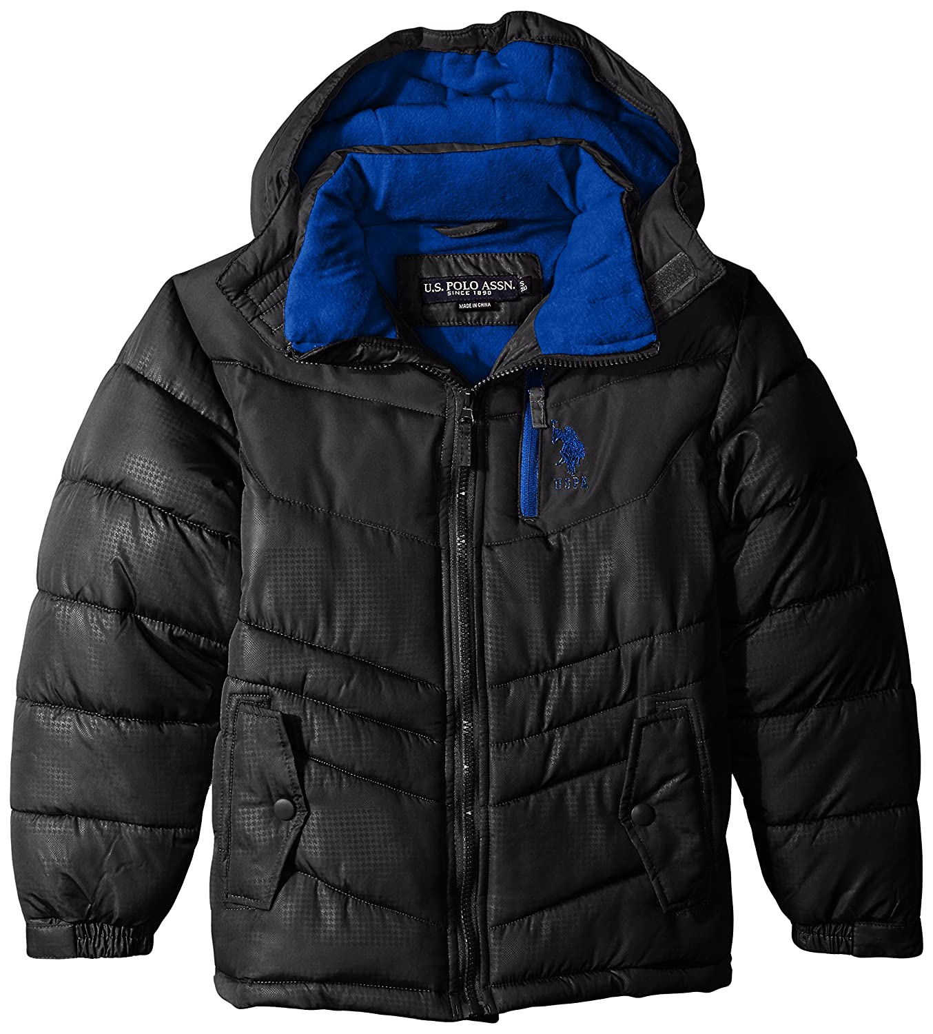 U.S. Polo Assn. Boys' Puffer Jacket with Hood Black 2T U.S. Polo Assn Boys 2-7