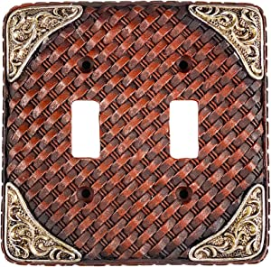 Urbalabs Western Leather Weave Design Silver Buckle Decorative Light Switch Outlet Wall Plate Covers Country Home Rustic Light Switch Covers Single Double 2 Gang Switch Plates (Double Switch)