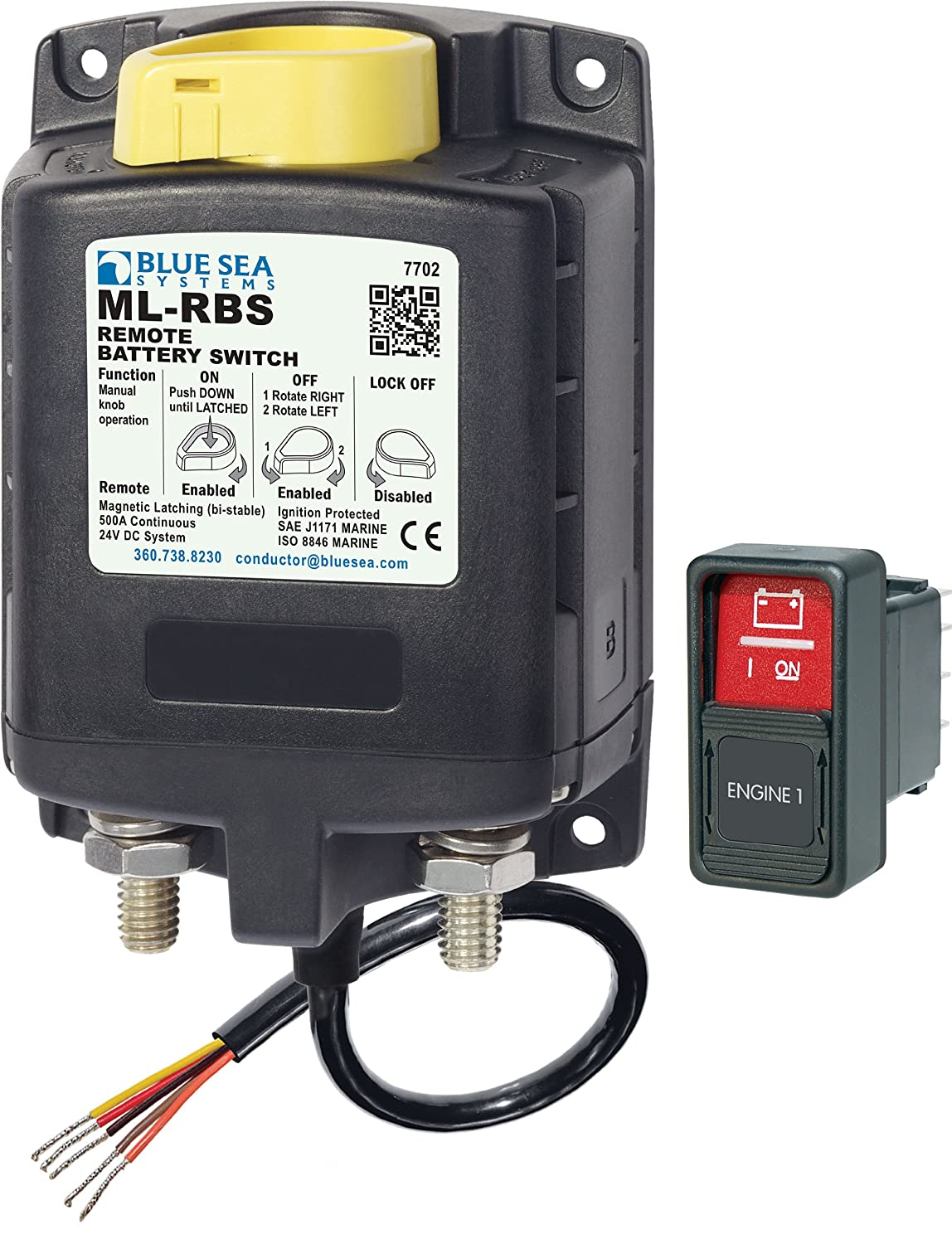 Blue Sea Systems ML-RBS 24V DC 500A Remote Battery Switch with Manual Control 7702