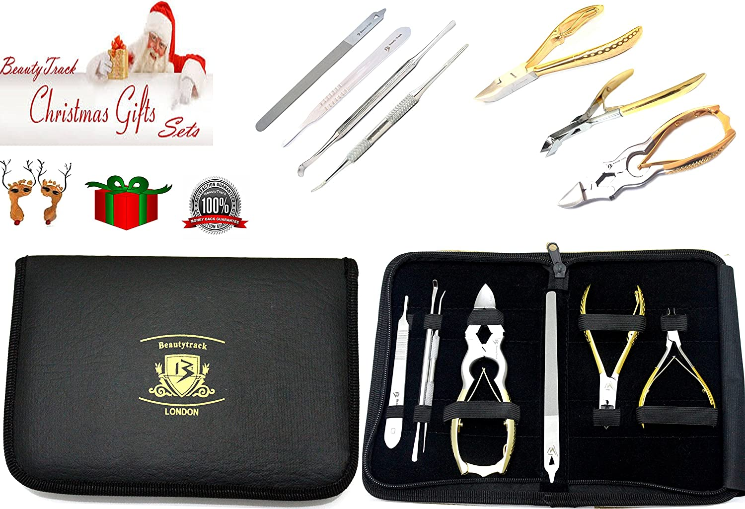 BeautyTrack Toenail Clipper Set - Chiropody Pedicure 7Pc Gold Colour Set - Nail Nipper Podiatry Clippers - Nail Files Brand New UK Stock Best For Pedicure Manicure Chiropodist (Christmas Special)