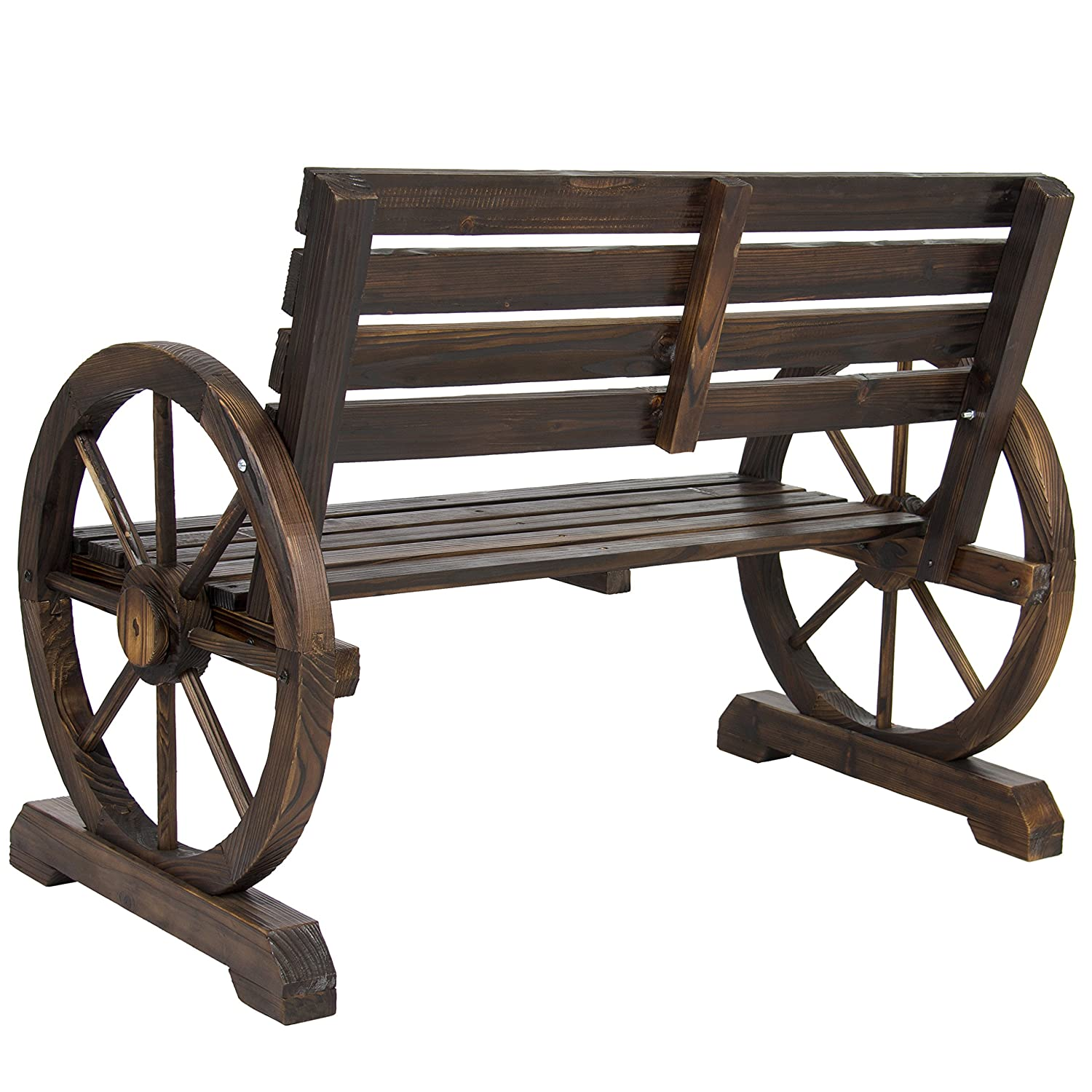 Exceptional Amazon.com : Best Choice Products Patio Garden Wooden Wagon Wheel Bench  Rustic Wood Design Outdoor Furniture : Garden U0026 Outdoor