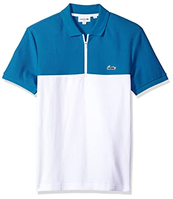 9621c9c38e182 Lacoste Men s Short Sleeve Color-Block Honeycomb Pique Slim Polo ...