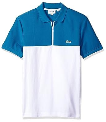 d795560bc Lacoste Men s Short Sleeve Color-Block Honeycomb Pique Slim Polo ...