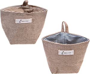 Goldblue 2 Pcs Mini Hanging Storage Bag Cotton Linen Small Storage Basket Decor Bin Bag for Wall Door Closet