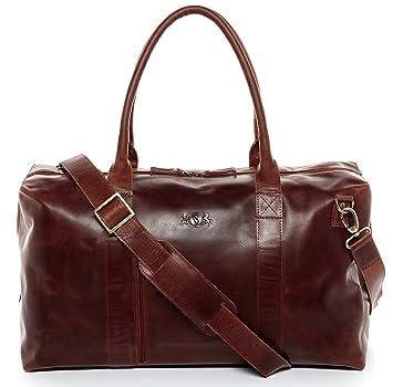 SID & VAIN® sac de voyage YALE - grand fourre-tout besace week-end - sac sport bagages cabine à main homme femme châtain clair cuir iABuXS1