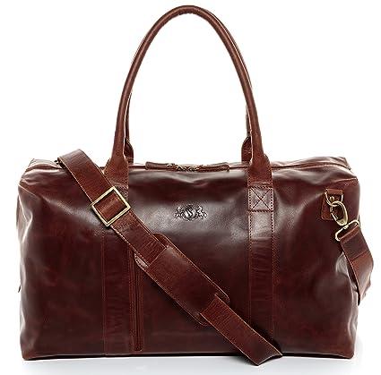 SID & VAIN® Bolsa de Viaje tamaño Grande Yale Zip Bolso de Deporte Maletín Tipo Weekender Piel marrón