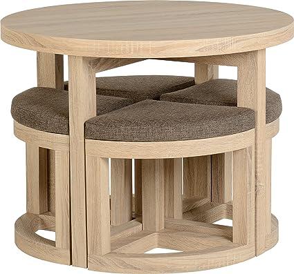 275121049a Seconique Cambourne Stowaway Dining Set, Sonoma Oak Effect/Brown Linen  Fleck, 414.95x424.95x459.95 cm: Amazon.co.uk: Kitchen & Home