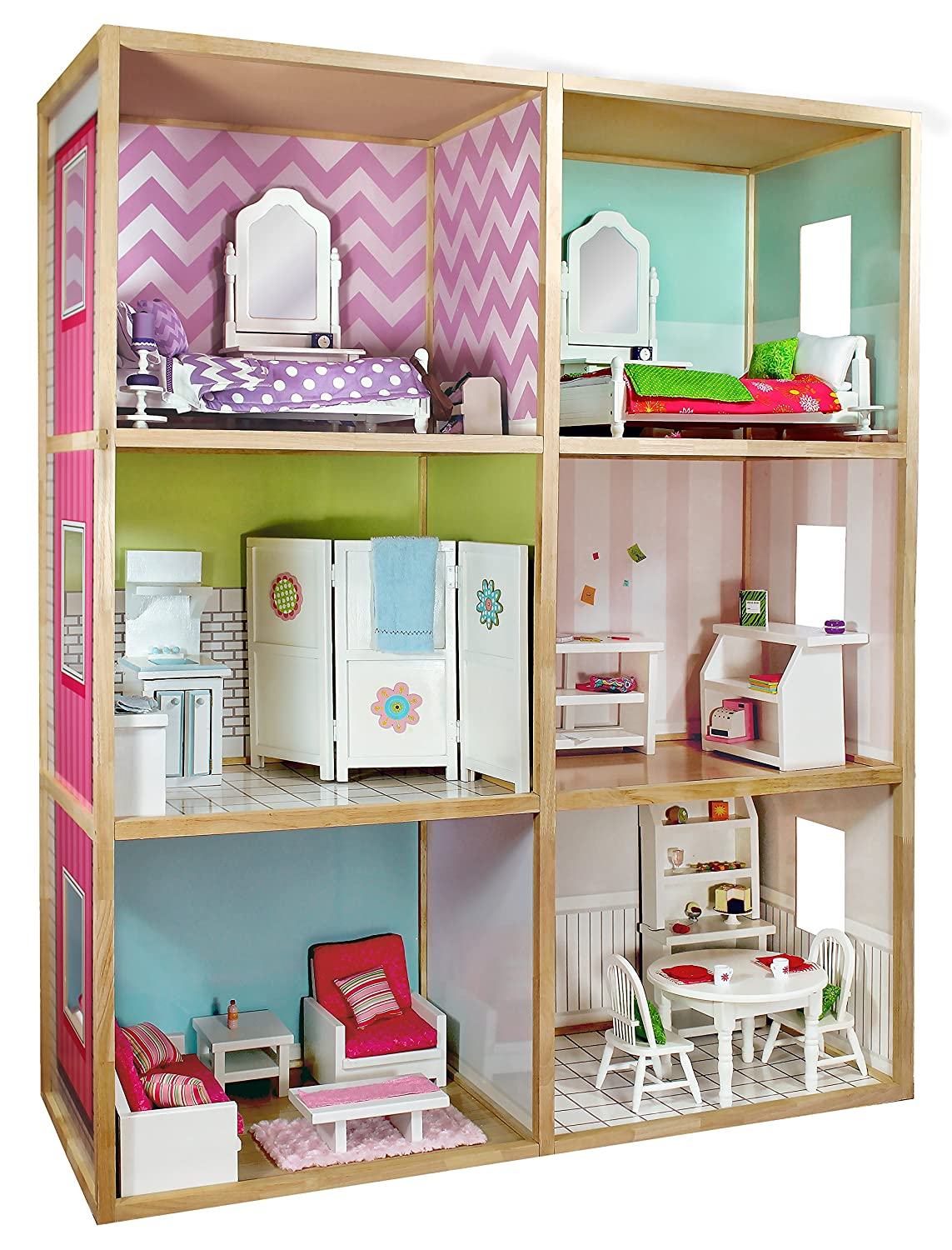 Amazon.com: My Girl\'s Dollhouse for 18\'\' Dolls - Modern Home Style ...
