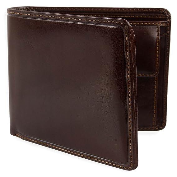 4b1a26dd3f61 Mens ITALIAN LEATHER Bi-Fold WALLET Visconti  Enzo Range Classic Change  Section Gift Box  Amazon.co.uk  Clothing