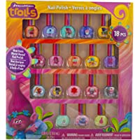 Townley Girl DreamWorks Trolls Best Peel-Off Nail Polish, Deluxe Gift Set for Kids, 18 Count Colors, Some with Glitter