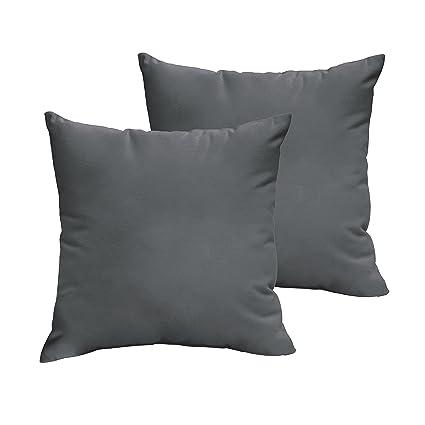 Brilliant 1101Design Sunbrella Charcoal Grey Knife Edge Decorative Indoor Outdoor Square Throw Pillows Perfect For Patio Decor Charcoal Grey 16 Set Of 2 Machost Co Dining Chair Design Ideas Machostcouk