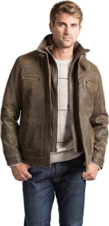 Memphis Lambskin Leather Bomber Jacket at Amazon Men's Clothing ...