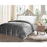 Utopia Bedding Comforter Sherpa Flannel (Twin)- All Season - Machine Washable - Luxury Goose Down Alternative - Reversible - Ultra Soft - Box Stitched