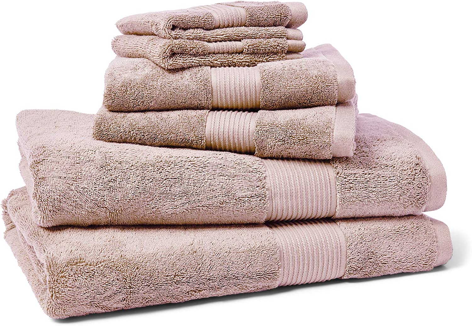 Chaps Home Camden 100% Cotton, 6 Piece Set, Highly Absorbent, Fade Resistant, Includes 30 X 56 Bath 16 X 30 Hand, Two 13 X 13 Washcloth Towels, (2) 30X56 (2) 16X30 (2) 13X13, Dusty Mauve