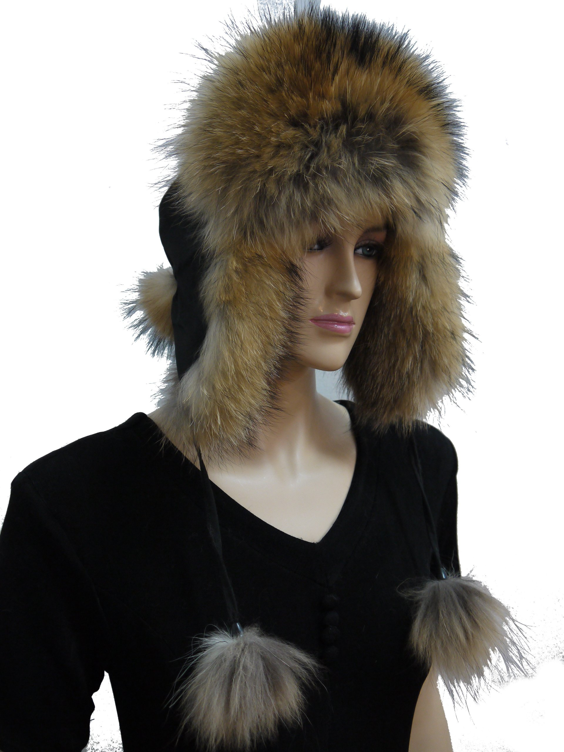 Raccoon Fur Trapper hat with Pompoms by Hima