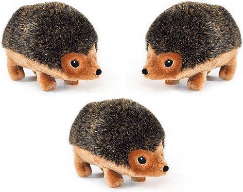 ZippyPaws Large 9-Inch Hedgehog Squeaky Plush Dog Toys 3 Pack