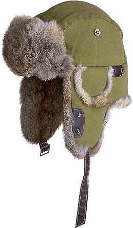 64d91ec6af572 Image Unavailable. Image not available for. Color  Canvas Trapper Hat with Rabbit  Fur Trim