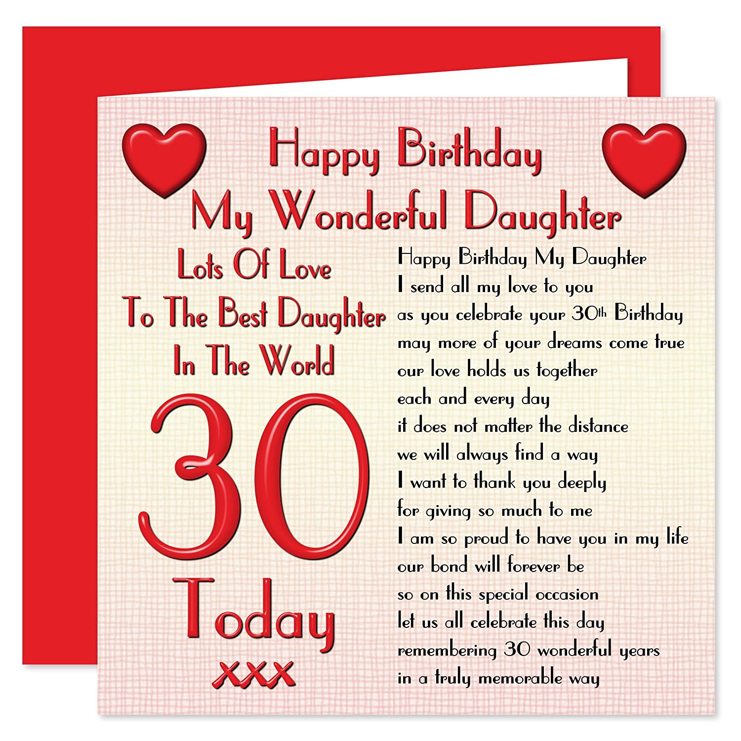 Daughter 30th happy birthday card lots of love to the best daughter 30th happy birthday card lots of love to the best daughter in the world 30 today amazon office products kristyandbryce Choice Image