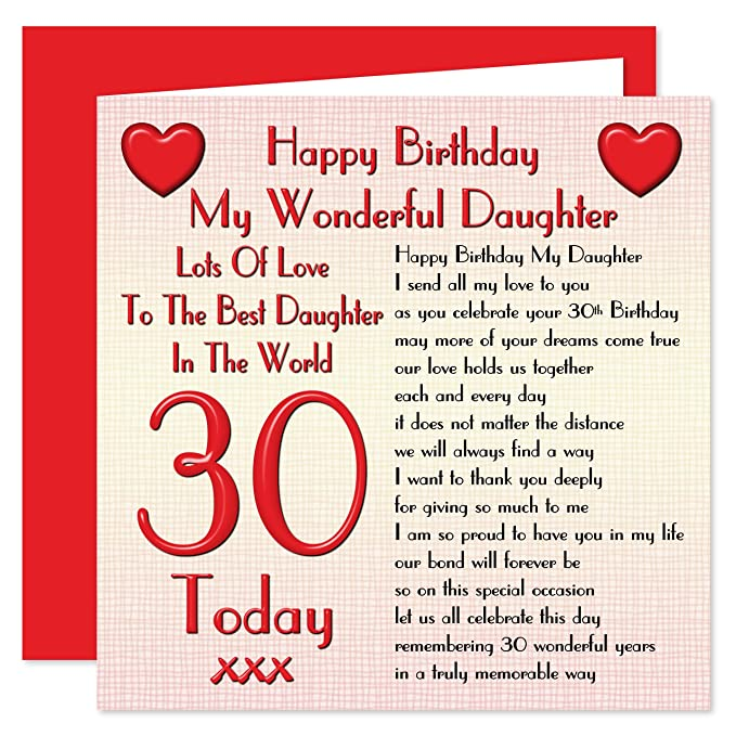 Daughter 30th Happy Birthday Card