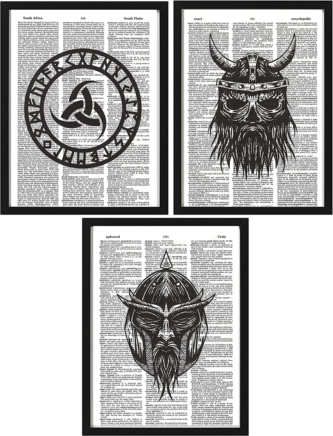 Viking Masks Horn of Odin 3-Pack Black and White Wall Decor Viking Mask Picture Viking Dictionary Art 8 x 10