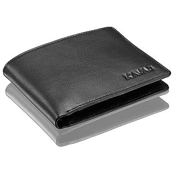 9da56100c10c9 KAVAJ Geldbörse Portemonnaie Echtleder Stockholm Schwarz mit RFID-Blocker Kleiner  Geldbeutel Portmonee aus echtem Leder