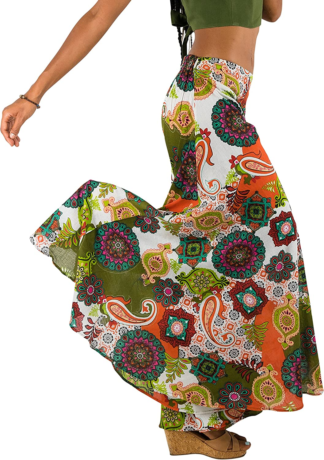 Tropic Bliss Colorful Wide-Leg Palazzo Pants for Women, Fair Trade, Boho Hippie Style Skirt Pant