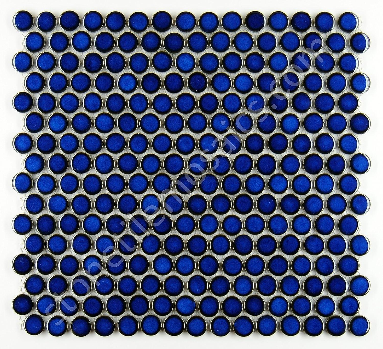 Penny Round Tile Cobalt Blue Porcelain Mosaic Shiny Look (Box of 5.1 ...
