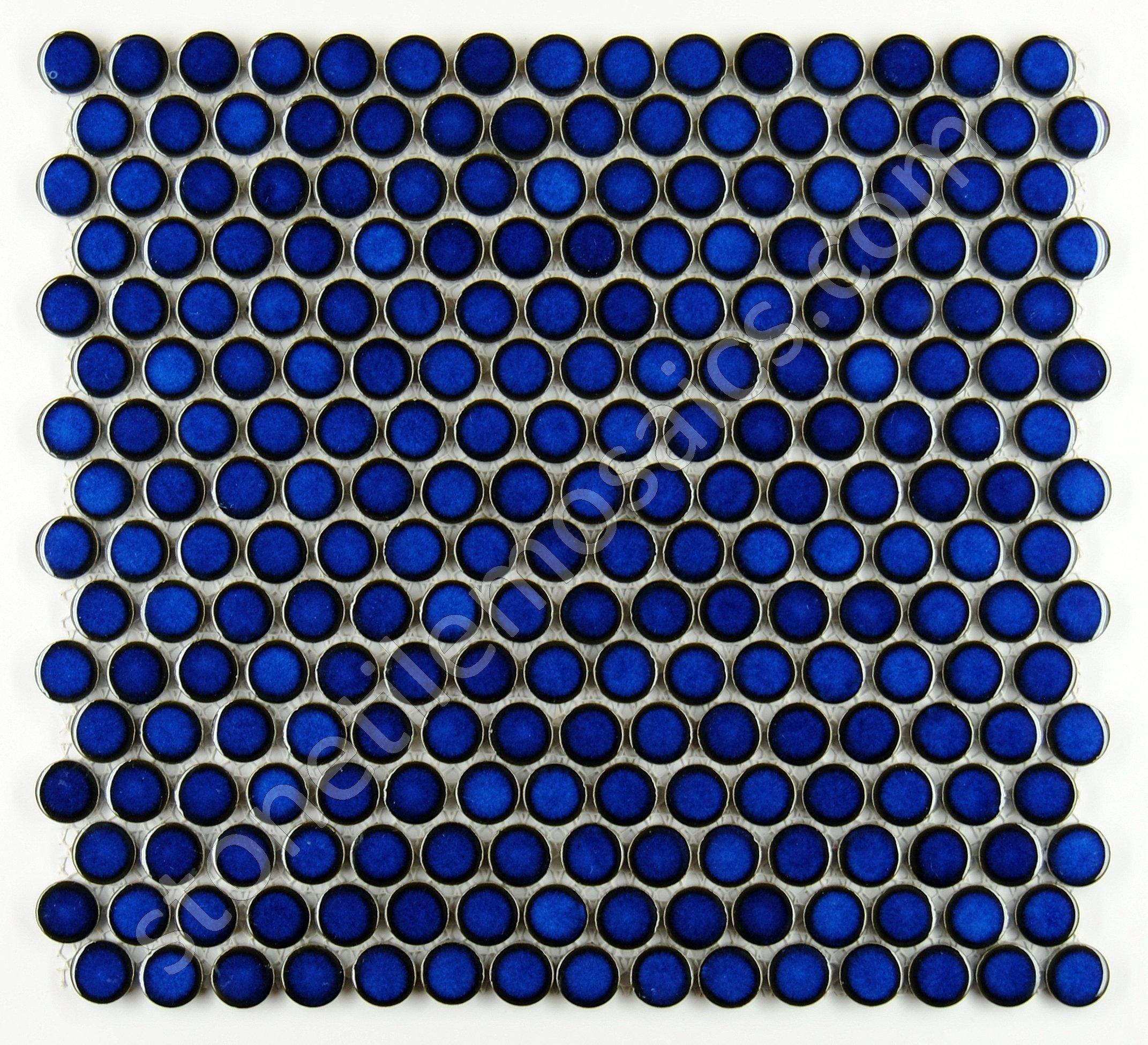 Penny Round Tile Cobalt Blue Porcelain Mosaic Shiny Look (Box of 5.1 Sq Ft)