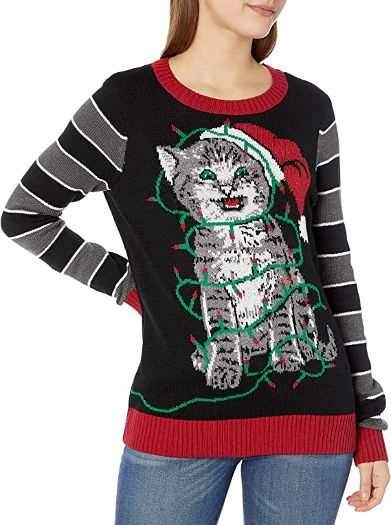 Ugly Christmas Sweater Women's Assorted Light-up Pullover Xmas Sweaters with Multi-Colored Led Flashing Lights