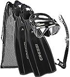 Cressi Kit Prolight per Immersioni/Snorkeling, Pinne Regolabili + Maschera Big Eyes & Snorkel Alpha Ultra Dry