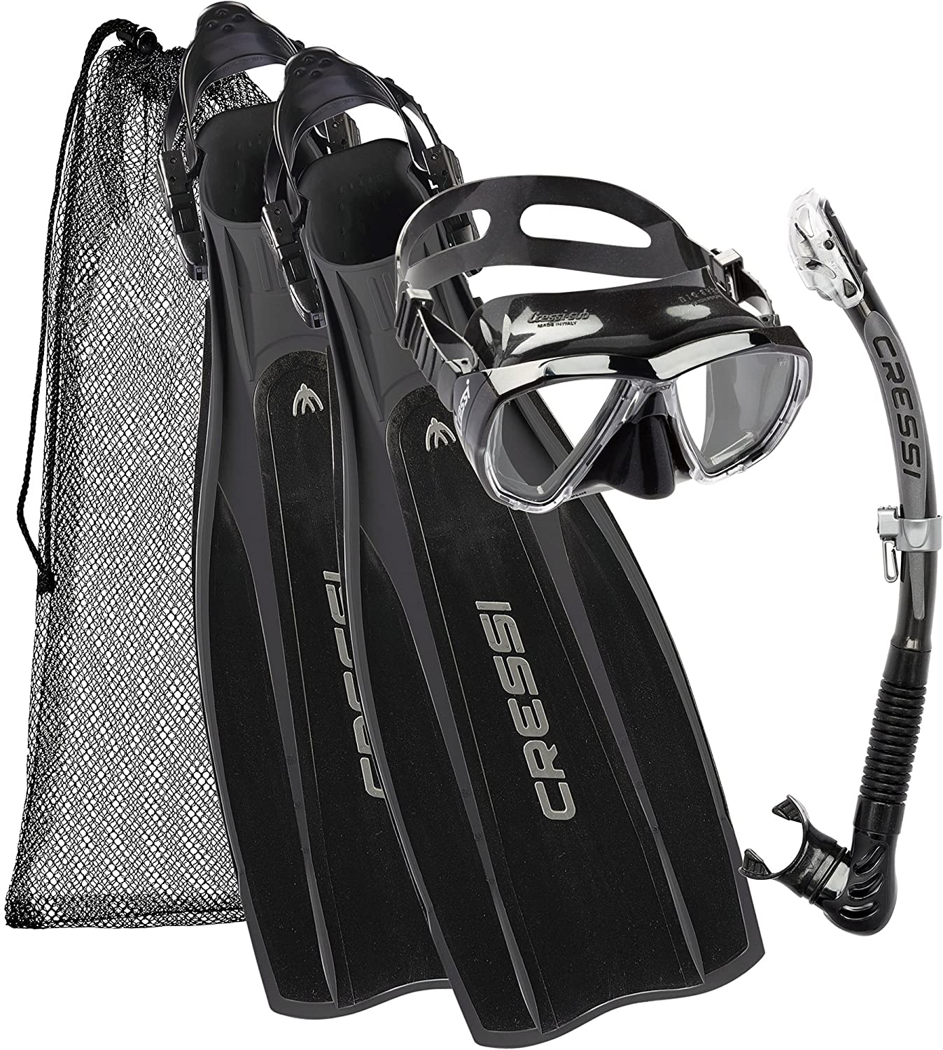 Cressi Kit Prolight per Immersioni/Snorkeling, Pinne Regolabili + Maschera Big Eyes & Snorkel Alpha Ultra Dry