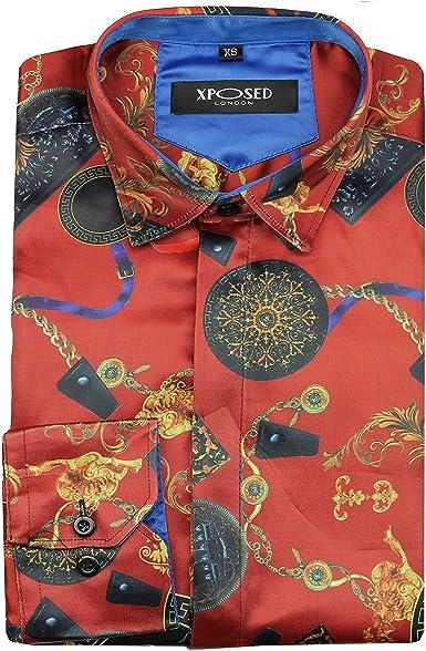 XPOSED - Camisa de satén para hombre, estilo retro, con impresión de estilo informal