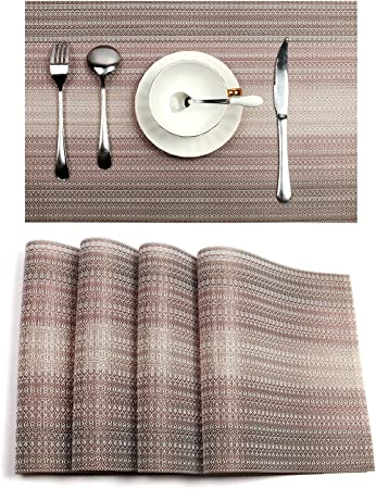 Set of 4//6,Dining Room Placemats for Table Heat Insulation PVC Washable Placemat