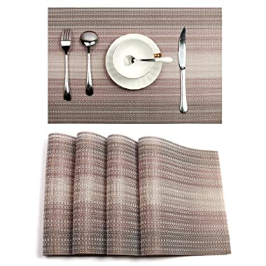 Pauwer Placemats for Kitchen Table Woven Vinyl Non-Slip Heat Insulation Placemat Washable Table Mats Set of 6 (Coffee,Set of 6)