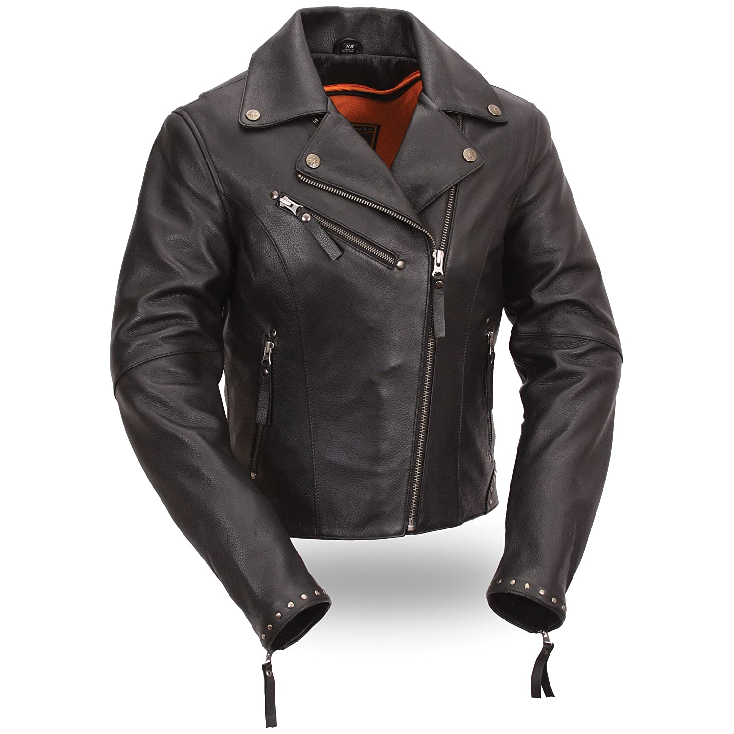 9de9fca6986 Amazon.com  First Manufacturing Women s Riveted Classic Motorcycle Jacket ( Black