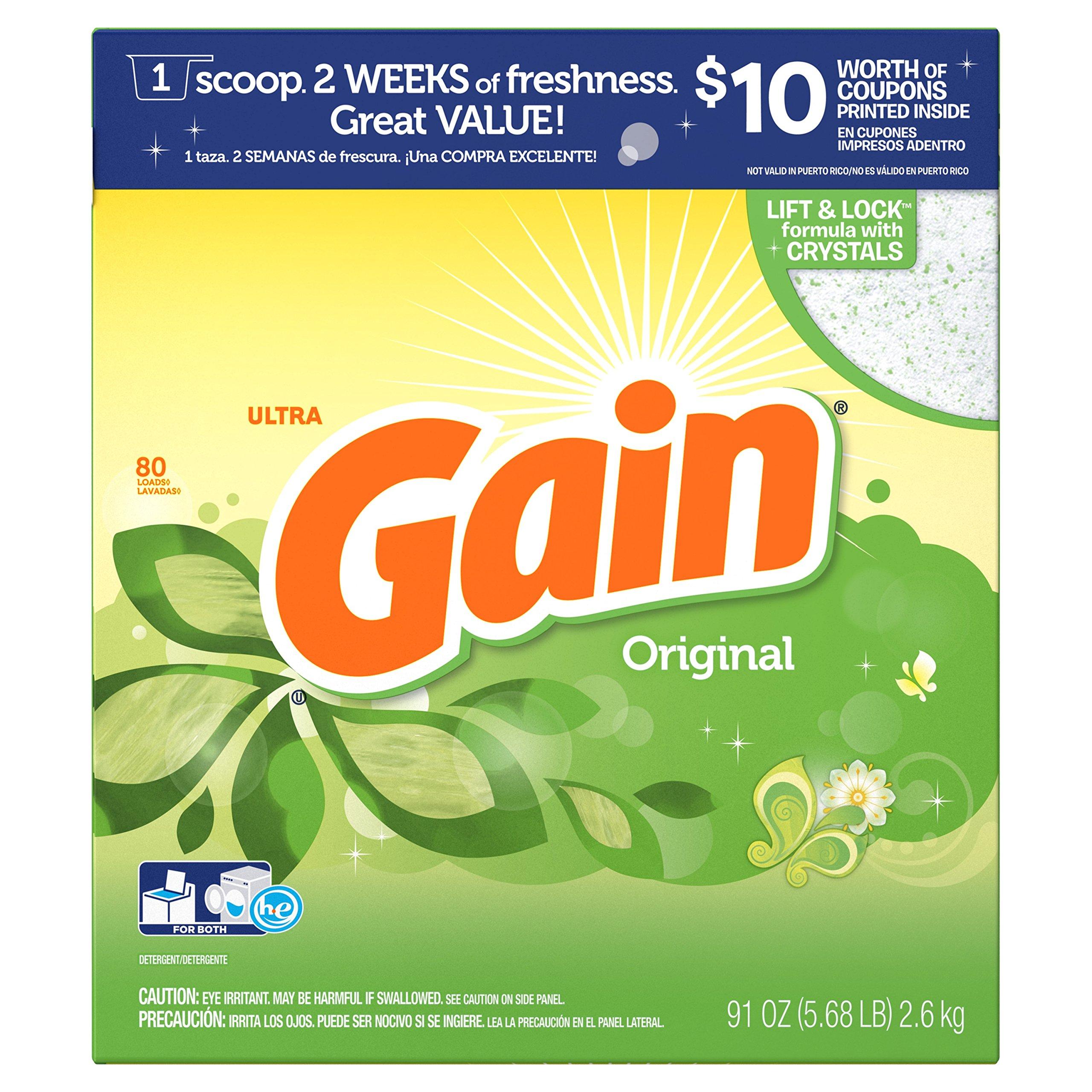 Gain HEC Ultra Original Powder Laundry Detergent, 80 Loads, 91 Oz by Gain