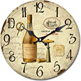 Yosemite Home Decor CLKA7187 Circular Iron Framed Distressed Wall Clock with Glass, Brown
