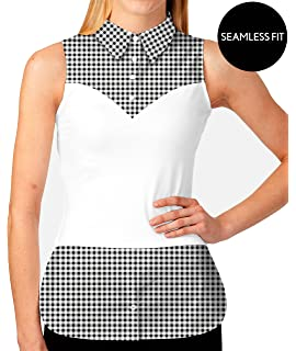 e53e83173d6 SkinnyShirt Lynne Sleeveless Black Gingham Shirt Slim w Tails No-Bunch  Pull-On