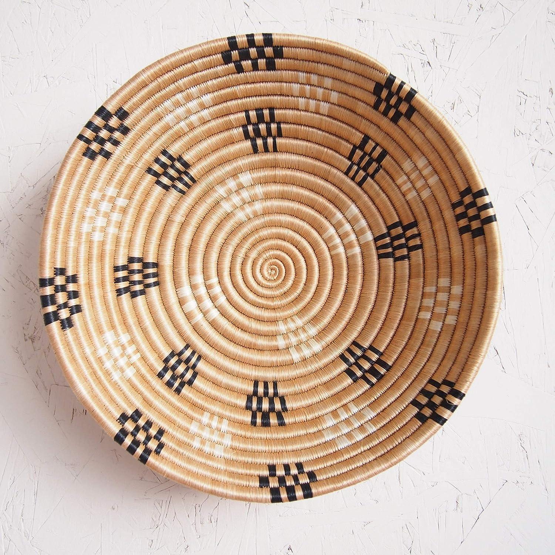 Sisal /& Sweetgrass Basket Handmade in Rwanda ~12 Decorative Woven Bowl Hand Woven African Basket Different shades of Bronze RB129 White