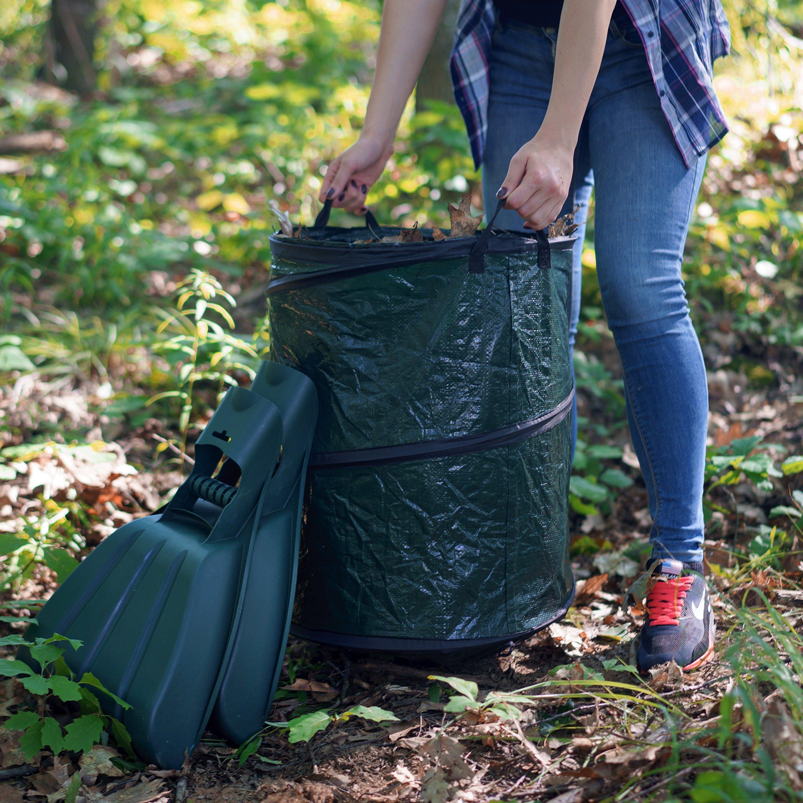 Kenley Leaf Scoops with Collapsible Yard Waste Garbage Bag Composting Bin – Leaf Hand Rakes for Leaves Grass Debris - Grabber Picker Tool for Garden or Lawn with Pop Up Composting Garbage Bag by Kenley (Image #6)