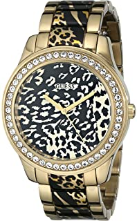 GUESS Womens U0465L1 Gold-Tone Animal Print Watch